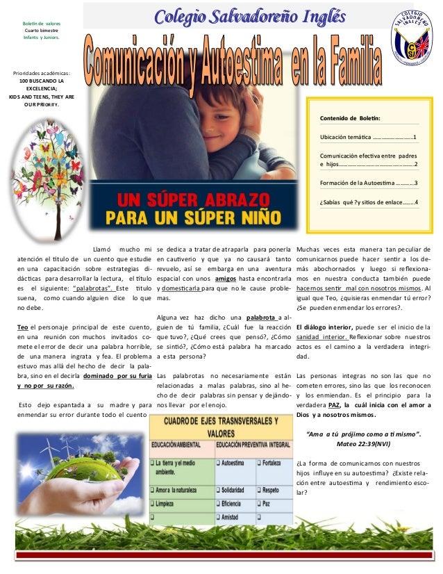 Contenido de Boletín: Ubicación temática ……………………...1 Comunicación efectiva entre padres e hijos…………………………………...….….2 Form...
