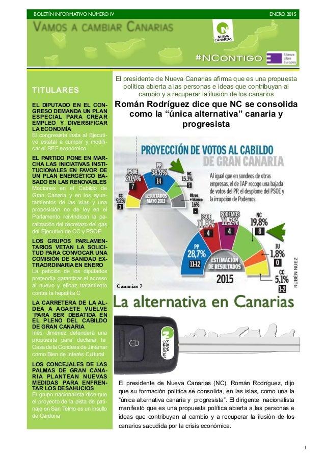 BOLETÍN INFORMATIVO NÚMERO IV   ENERO 2015   1 El presidente de Nueva Canarias afirma que es una propuesta política abie...