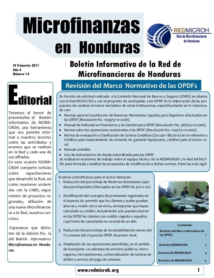 Microfinanzas                             en Honduras  IV Trimestre 2011  Año 4                                    Boletín...