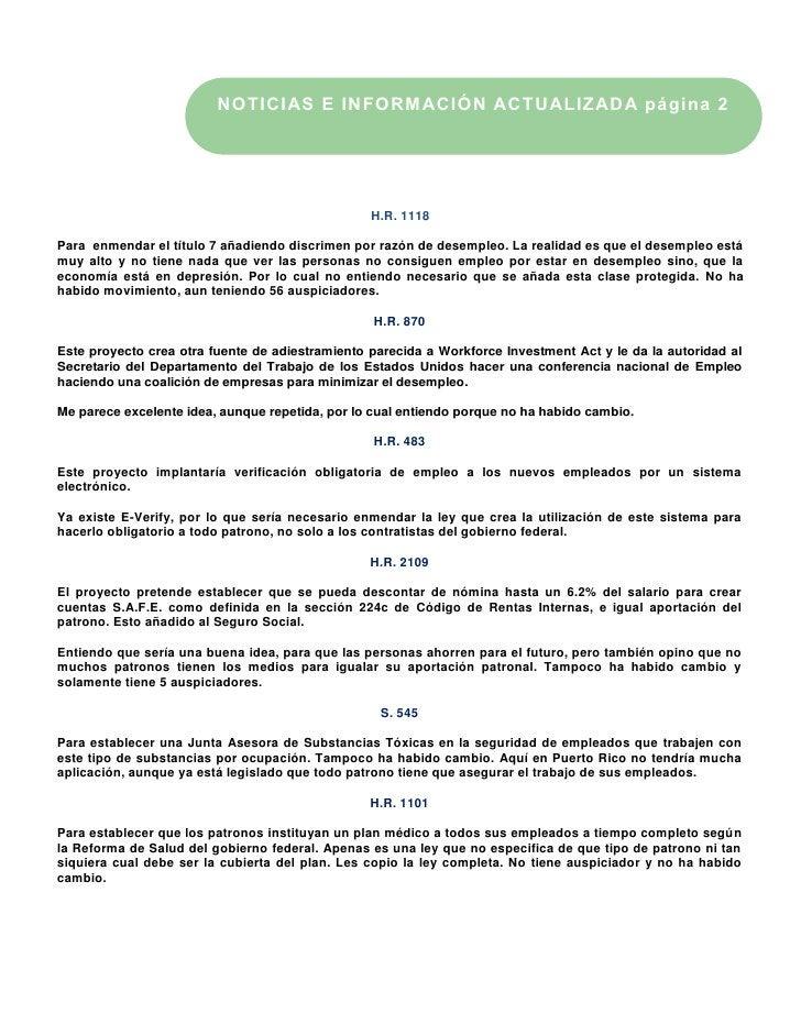 NOTICIAS E INFORMACIÓN ACTUALIZADA página 2                                                 H.R. 1118Para enmendar el títu...