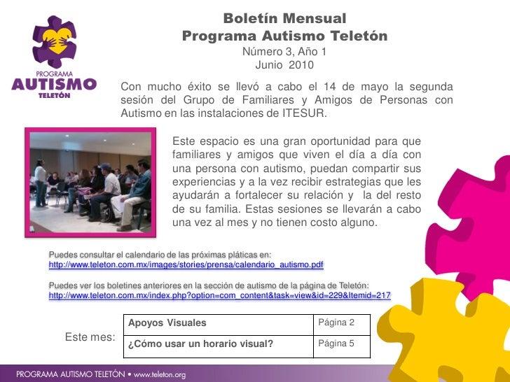 Boletín Mensual                                  Programa Autismo Teletón                                                 ...