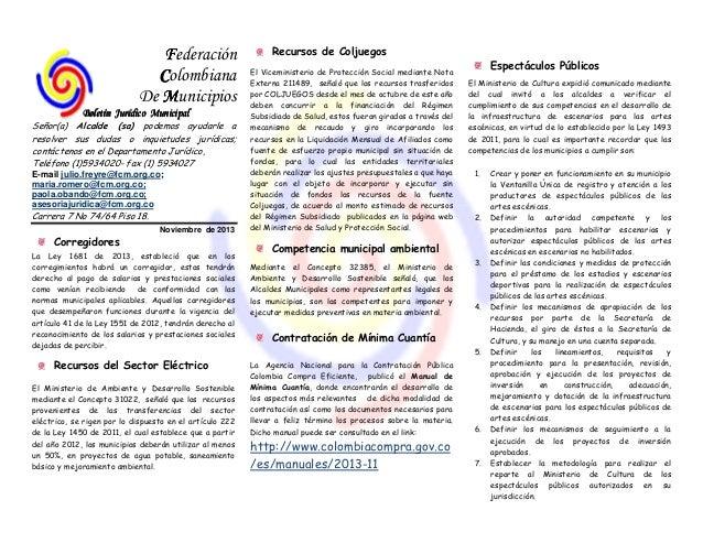 Federación Colombiana De Municipios Boletín Jurídico Municipal Señor(a) Alcalde (sa) podemos ayudarle a resolver sus dudas...