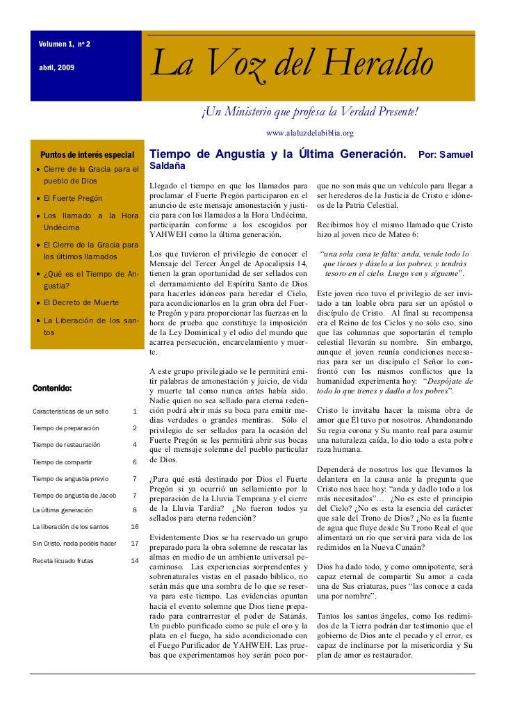 Volumen 1, nº 2  abril, 2009                        La Voz del Heraldo                                                    ...