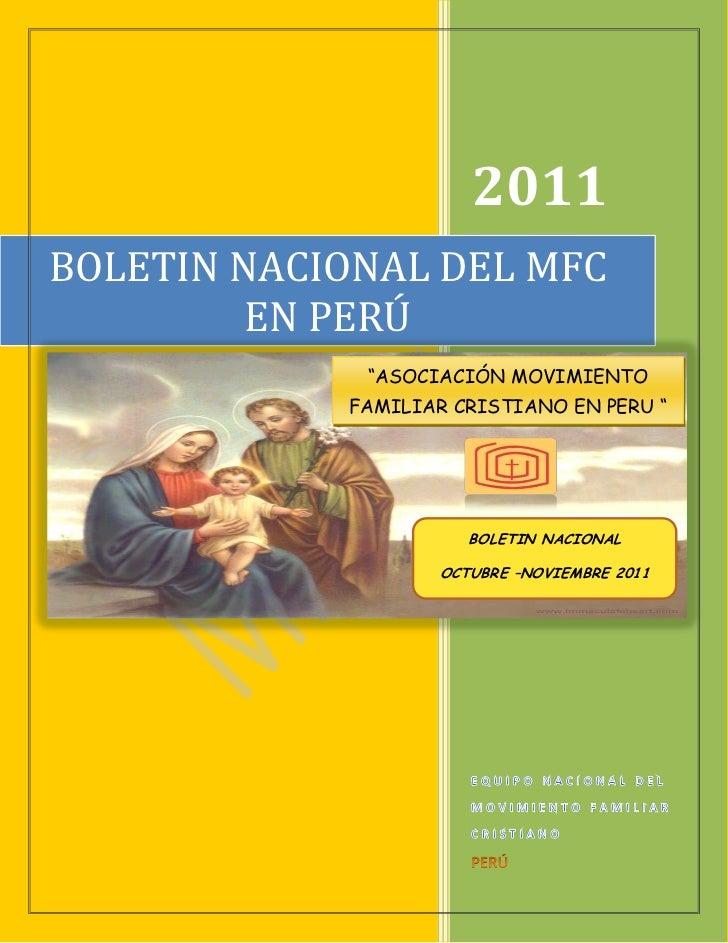 """2011BOLETIN NACIONAL DEL MFC         EN PERÚ             """"ASOCIACIÓN MOVIMIENTO            FAMILIAR CRISTIANO EN PERU """"   ..."""