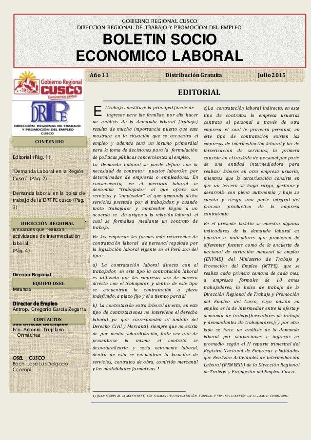 """E Editorial (Pág. 1) """"Demanda Laboral en la Región Cusco"""" (Pág. 2) Demanda laboral en la bolsa de trabajo de la DRTPE cusc..."""