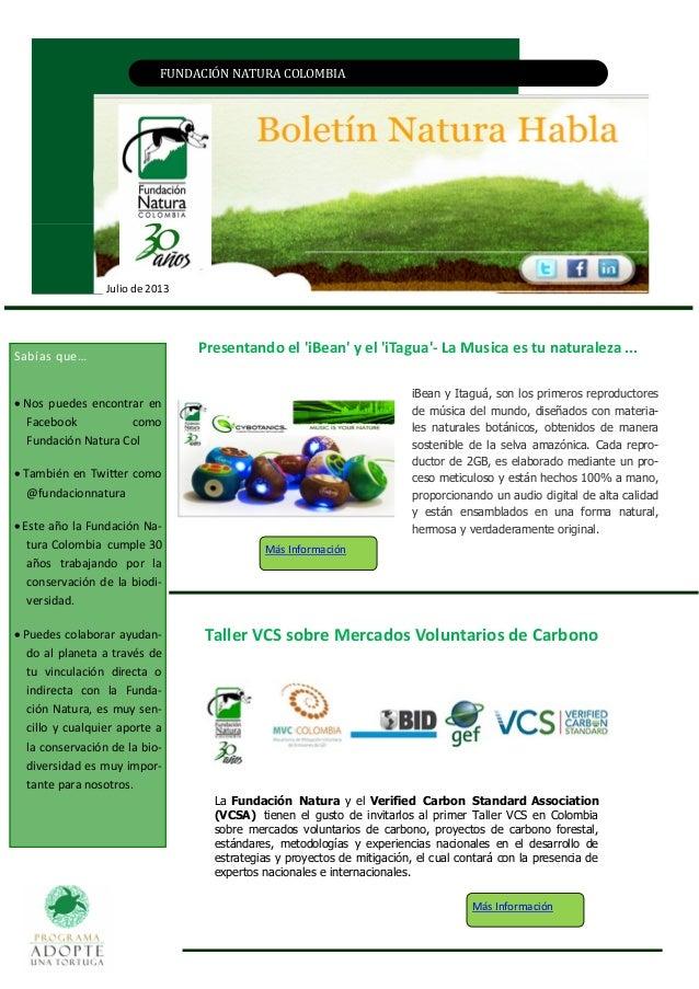 FUNDACIÓN NATURA CÓLÓMBIA Julio de 2013 Taller VCS sobre Mercados Voluntarios de Carbono Sabías que…  Nos puedes encontra...