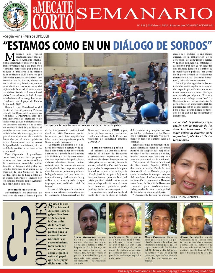 SEMANARIO                                                N° 128 | 05 Febrero 2010 | Editado por COMUNICACIONES-SJ   +Según...