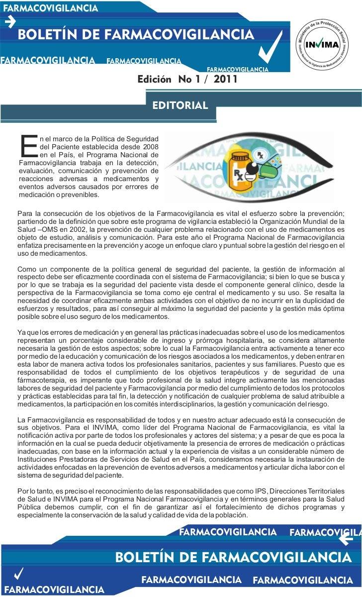 FARMACOVIGILANCIA   BOLETÍN DE FARMACOVIGILANCIAFARMACOVIGILANCIA               FARMACOVIGILANCIA                         ...