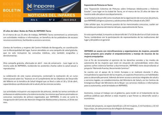 Boletín: Noticias del INPPARES - Abril 2013