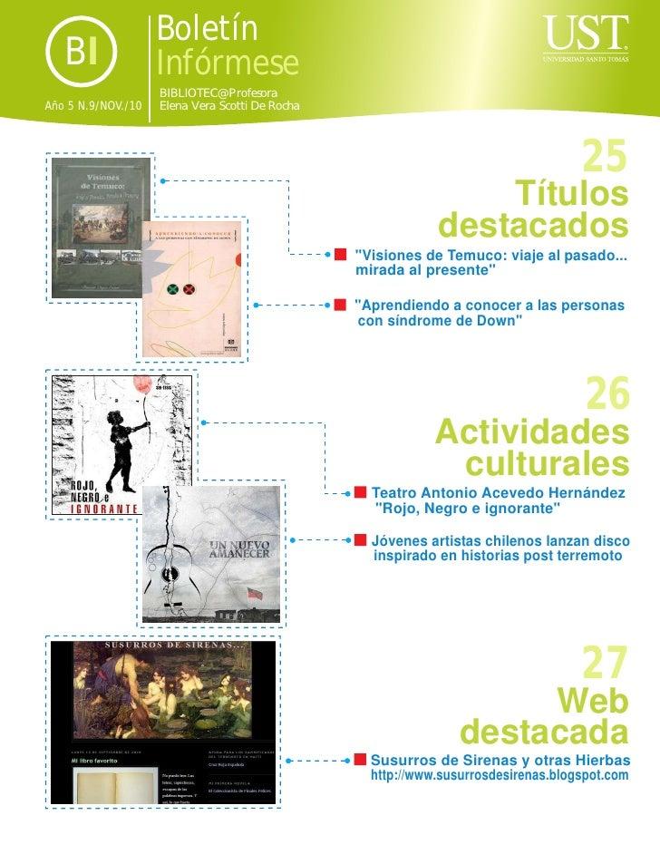Boletín   BI               Infórmese                    BIBLIOTEC@ ProfesoraAño 5 N.9/NOV./10   Elena Vera Scotti De Rocha...