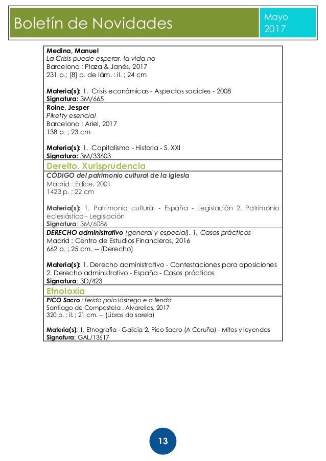Boletin novidades maio 2017 Biblioteca Diputacion Coruña