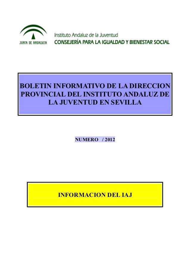 BOLETIN INFORMATIVO DE LA DIRECCIONPROVINCIAL DEL INSTITUTO ANDALUZ DE      LA JUVENTUD EN SEVILLA            NUMERO / 201...
