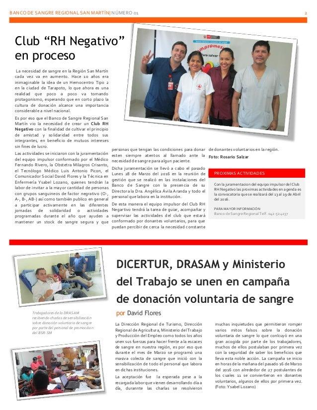 BANCO DE SANGRE REGIONAL SAN MARTÍN  NÚMERO 01 2 La necesidad de sangre en la Región San Martín cada vez va en aumento. Ha...