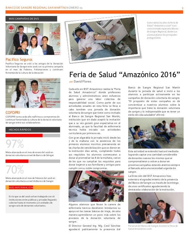 BANCO DE SANGRE REGIONAL SAN MARTÍN  NÚMERO 01 3 MÁS CAMPAÑAS DE DVS Pacifico Seguros Pacífico Seguros se unió a los amigo...