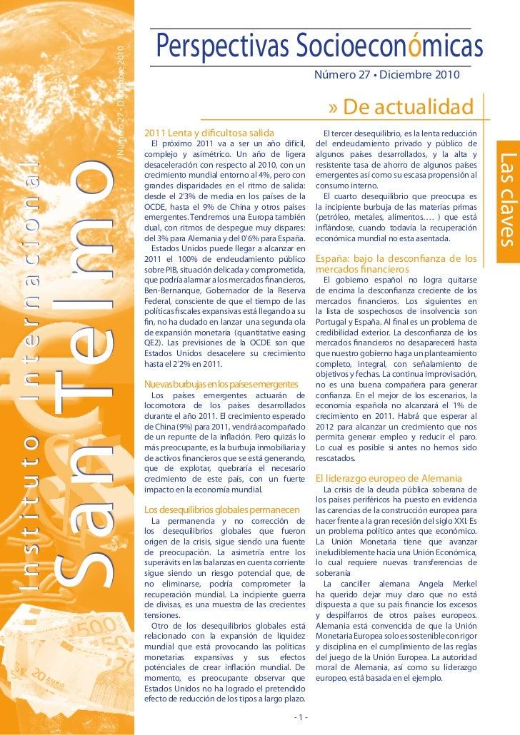Perspectivas Socioeconómicas                  Número 27 • Diciembre 2010                                                  ...