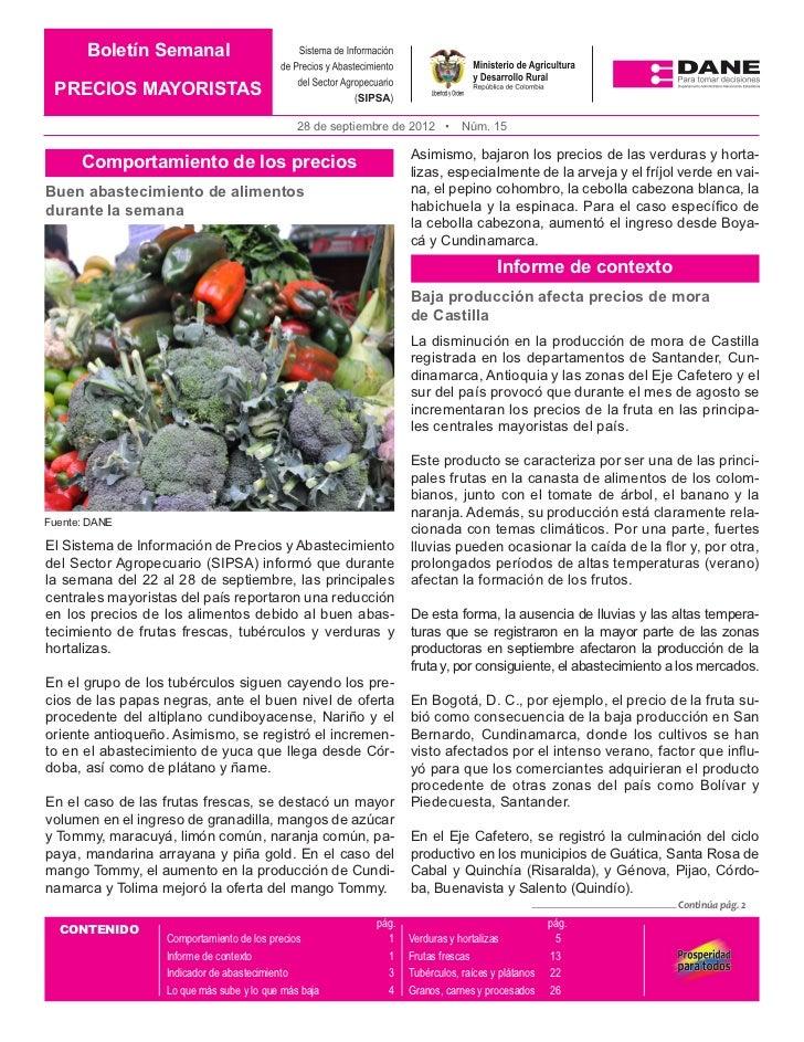 Boletín Semanal PRECIOS MAYORISTAS                                              28 de septiembre de 2012 •      Núm. 15   ...