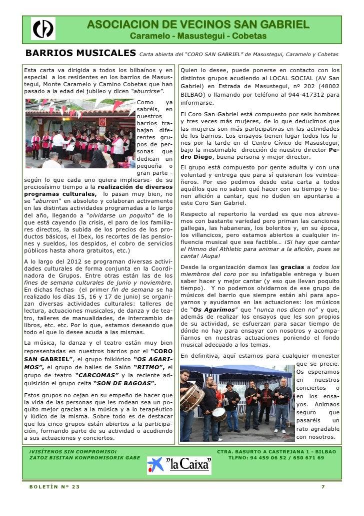 ASOCIACION DE VECINOS SAN GABRIEL                                    Caramelo - Masustegui - CobetasBARRIOS MUSICALES     ...
