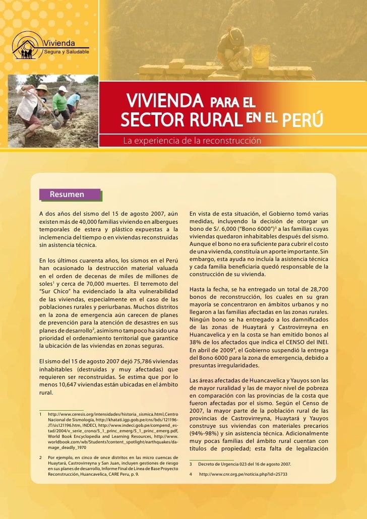 Vivienda     Segura y Saludable                                                 VIVIENDA PARA EL                          ...