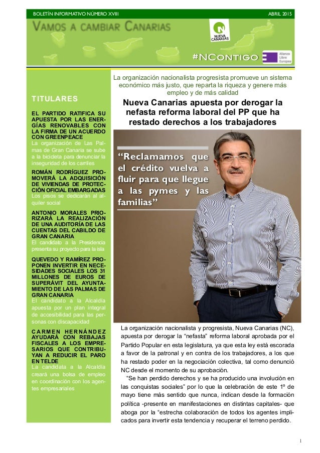 BOLETÍN INFORMATIVO NÚMERO XVIII   ABRIL 2015   1 La organización nacionalista progresista promueve un sistema económico...