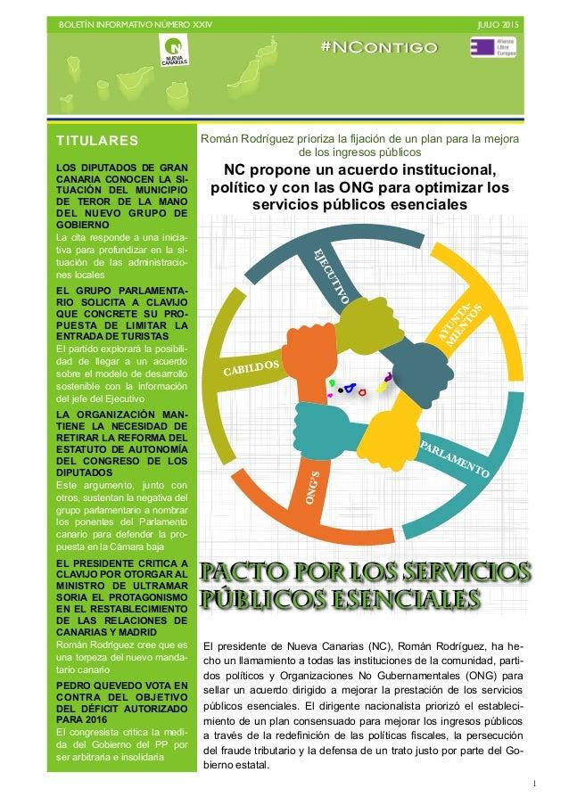BOLETÍN INFORMATIVO NÚMERO XXIV   JULIO 2015   1 Román Rodríguez prioriza la fijación de un plan para la mejora de los i...