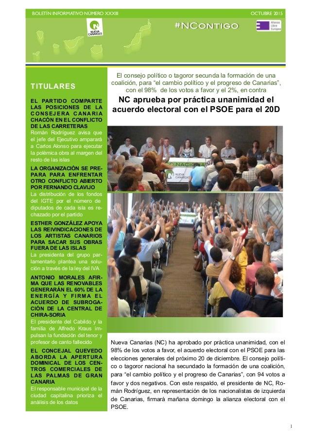 BOLETÍN INFORMATIVO NÚMERO XXXIII   OCTUBRE 2015   1 El consejo político o tagoror secunda la formación de una coalición...