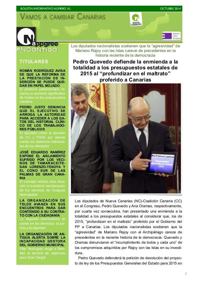 BOLETÍN INFORMATIVO NÚMERO XL   OCTUBRE 2014   1 Los diputados de Nueva Canarias (NC)-Coalición Canaria (CC) en el Congr...
