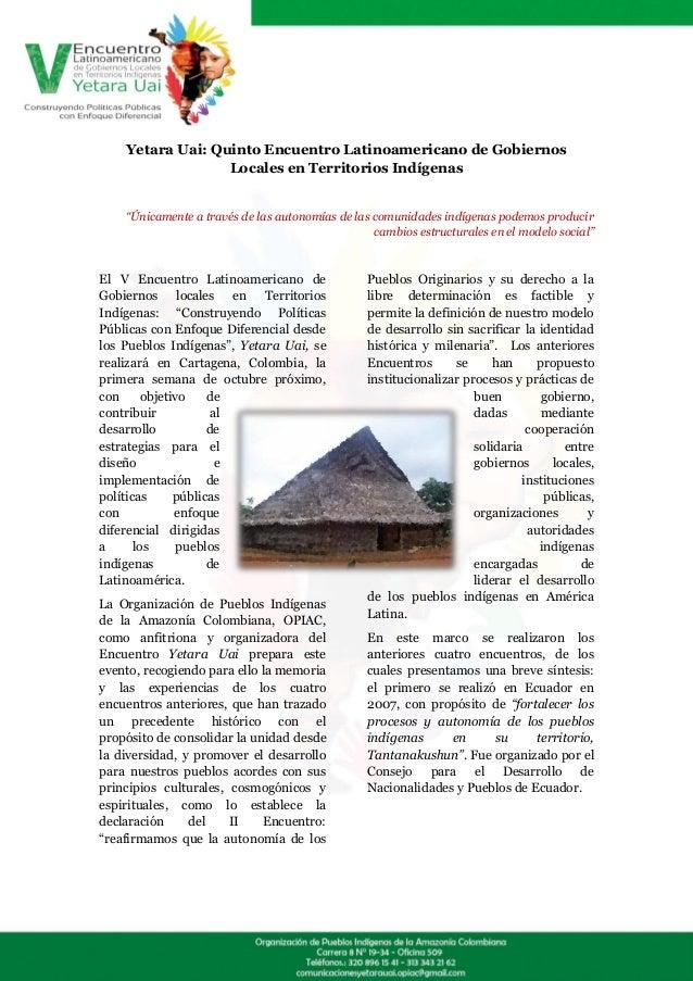 """Yetara Uai: Quinto Encuentro Latinoamericano de Gobiernos                  Locales en Territorios Indígenas    """"Únicamente..."""