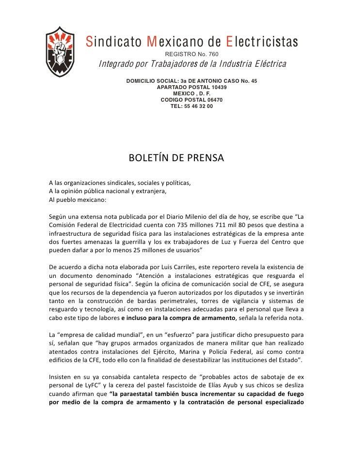 Sindicato M exicano de E lectricistas                                               REGISTRO No. 760      ...