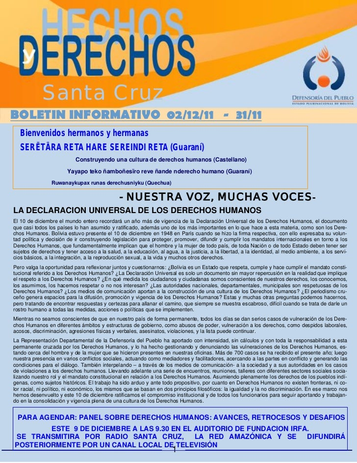 Santa CruzBOLETIN INFORMATIVO 02/12/11 - 31/11  Bienvenidos hermanos y hermanas  SERËTÄRA RETA HARE SEREINDI RETA (Guaraní...