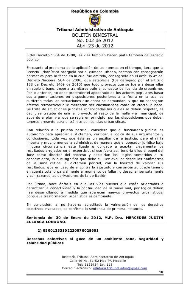 República de Colombia  Tribunal Administrativo de Antioquia  BOLETÍN BIMESTRAL  No. 002 de 2012  Abril 23 de 2012  5 del D...