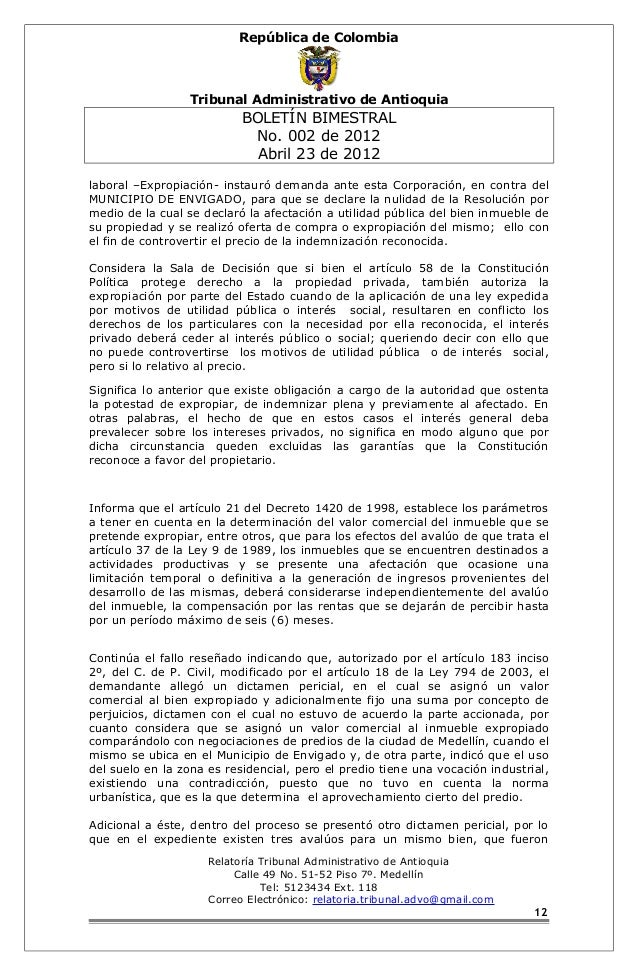 República de Colombia  Tribunal Administrativo de Antioquia  BOLETÍN BIMESTRAL  No. 002 de 2012  Abril 23 de 2012  laboral...