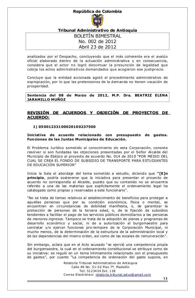 República de Colombia  Tribunal Administrativo de Antioquia  BOLETÍN BIMESTRAL  No. 002 de 2012  Abril 23 de 2012  analiza...