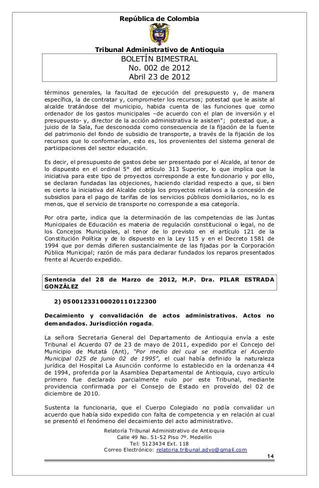 República de Colombia  Tribunal Administrativo de Antioquia  BOLETÍN BIMESTRAL  No. 002 de 2012  Abril 23 de 2012  término...