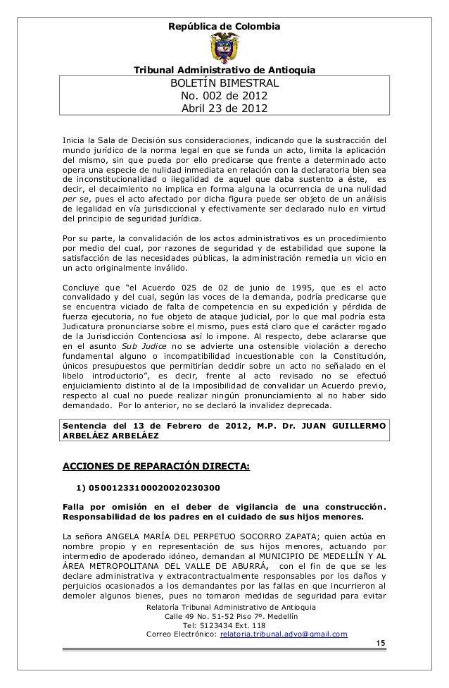 República de Colombia  Tribunal Administrativo de Antioquia  BOLETÍN BIMESTRAL  No. 002 de 2012  Abril 23 de 2012  Inicia ...