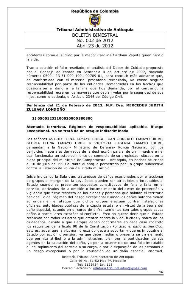 República de Colombia  Tribunal Administrativo de Antioquia  BOLETÍN BIMESTRAL  No. 002 de 2012  Abril 23 de 2012  acciden...