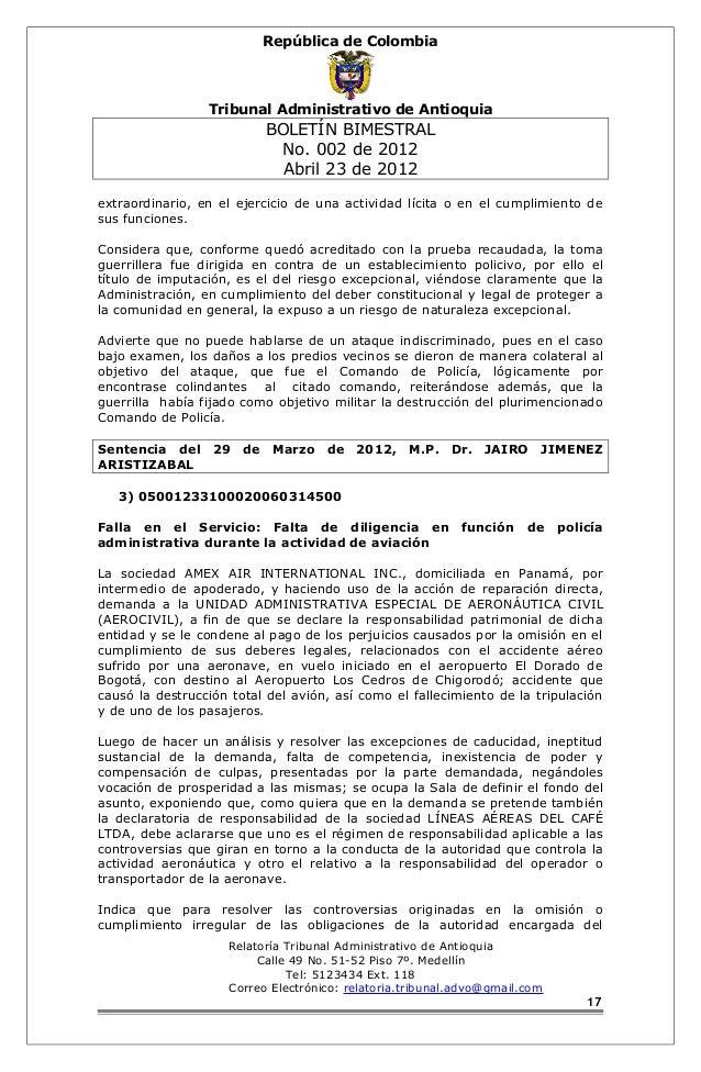 República de Colombia  Tribunal Administrativo de Antioquia  BOLETÍN BIMESTRAL  No. 002 de 2012  Abril 23 de 2012  extraor...