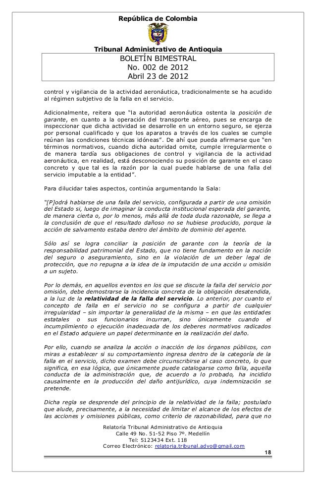 República de Colombia  Tribunal Administrativo de Antioquia  BOLETÍN BIMESTRAL  No. 002 de 2012  Abril 23 de 2012  control...