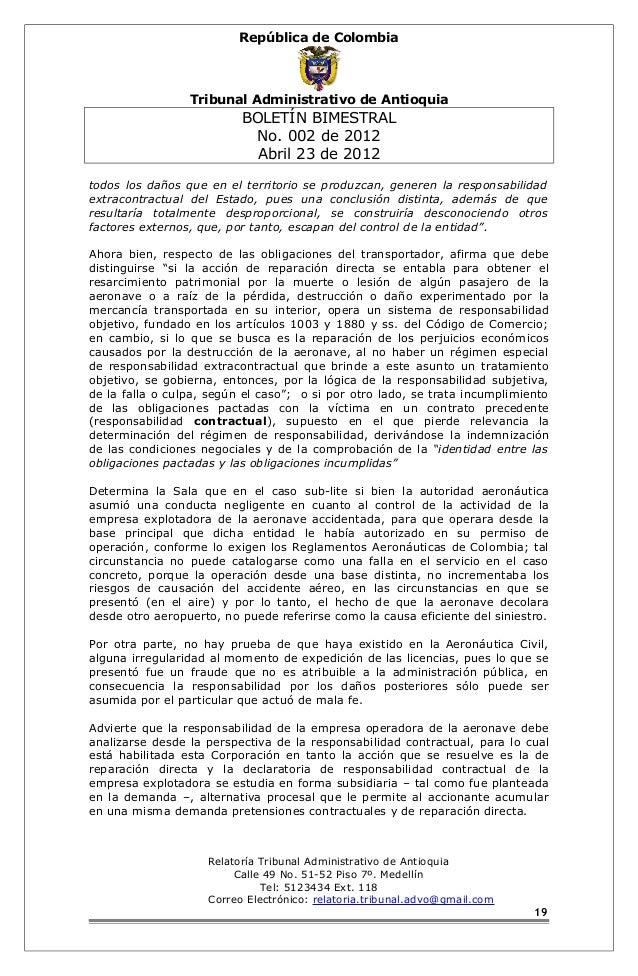 República de Colombia  Tribunal Administrativo de Antioquia  BOLETÍN BIMESTRAL  No. 002 de 2012  Abril 23 de 2012  todos l...