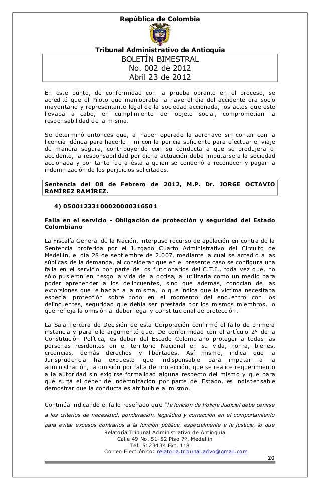 República de Colombia  Tribunal Administrativo de Antioquia  BOLETÍN BIMESTRAL  No. 002 de 2012  Abril 23 de 2012  En este...