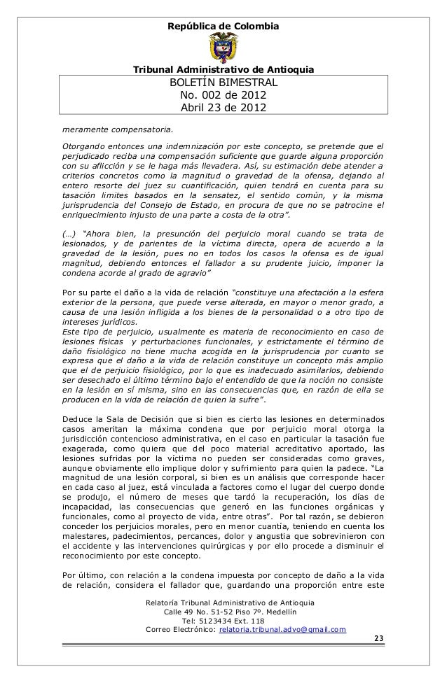 República de Colombia  Tribunal Administrativo de Antioquia  BOLETÍN BIMESTRAL  No. 002 de 2012  Abril 23 de 2012  meramen...