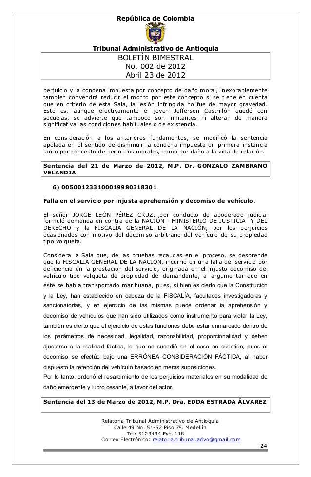 República de Colombia  Tribunal Administrativo de Antioquia  BOLETÍN BIMESTRAL  No. 002 de 2012  Abril 23 de 2012  perjuic...