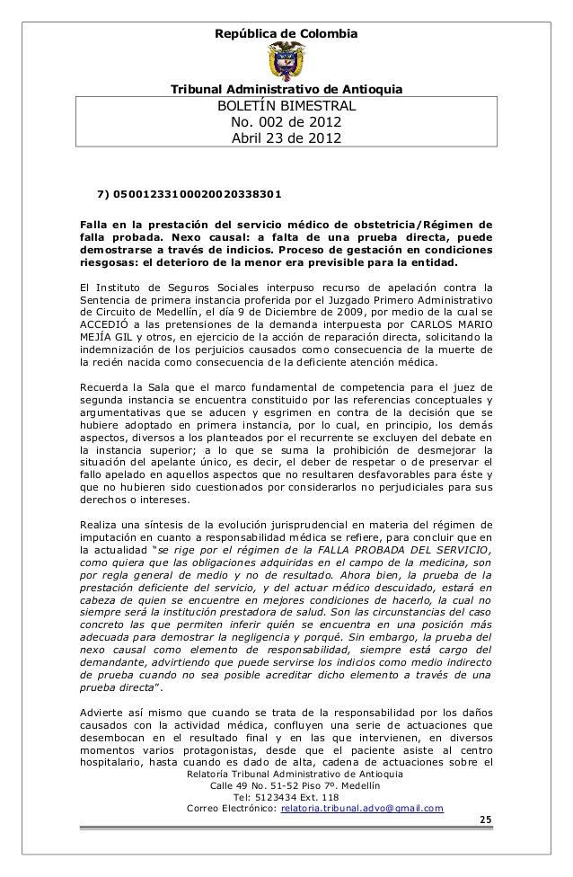 República de Colombia  Tribunal Administrativo de Antioquia  BOLETÍN BIMESTRAL  No. 002 de 2012  Abril 23 de 2012  7) 0500...