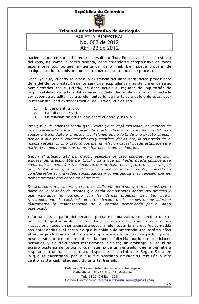 República de Colombia  Tribunal Administrativo de Antioquia  BOLETÍN BIMESTRAL  No. 002 de 2012  Abril 23 de 2012  pacient...