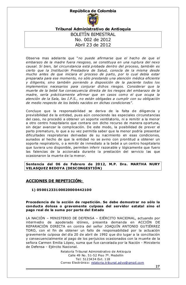República de Colombia  Tribunal Administrativo de Antioquia  BOLETÍN BIMESTRAL  No. 002 de 2012  Abril 23 de 2012  Observa...