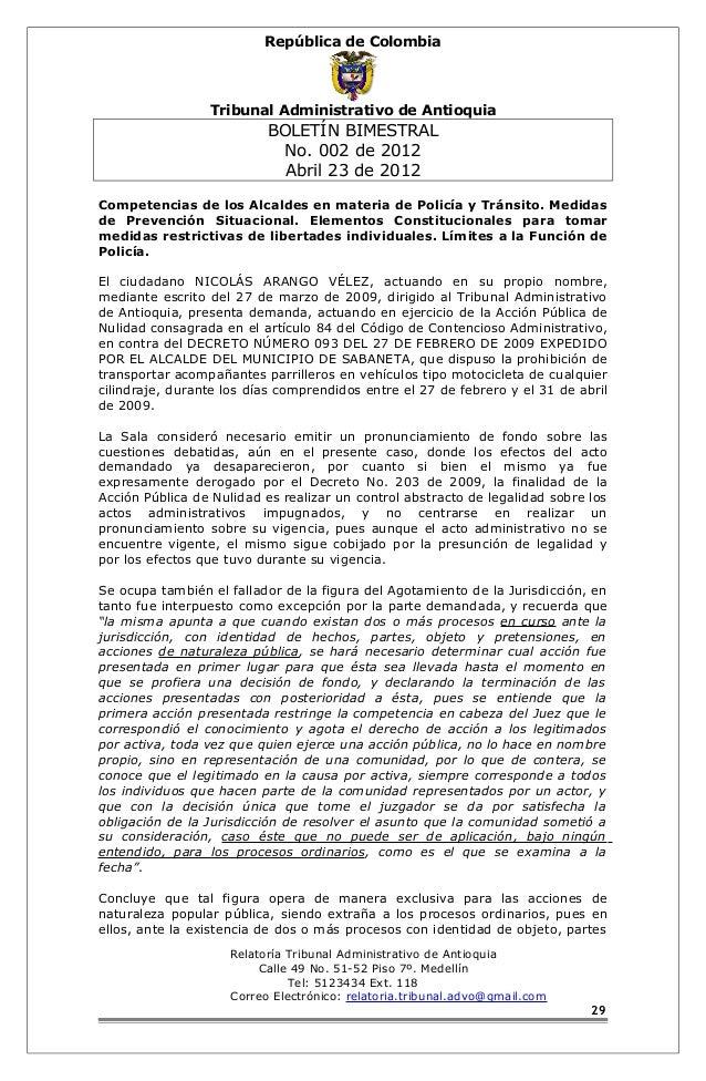 República de Colombia  Tribunal Administrativo de Antioquia  BOLETÍN BIMESTRAL  No. 002 de 2012  Abril 23 de 2012  Compete...