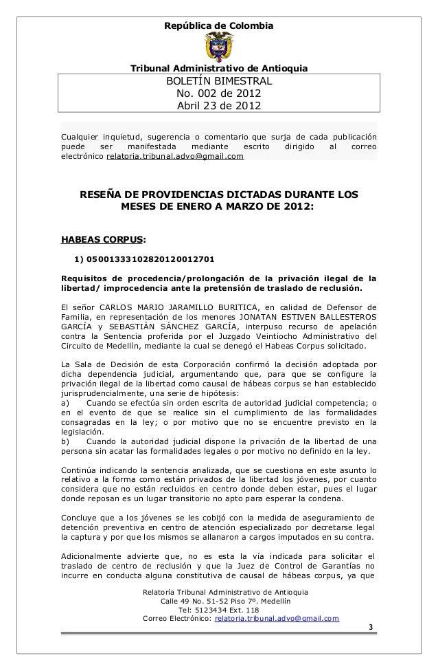 República de Colombia  Tribunal Administrativo de Antioquia  BOLETÍN BIMESTRAL  No. 002 de 2012  Abril 23 de 2012  Cualqui...