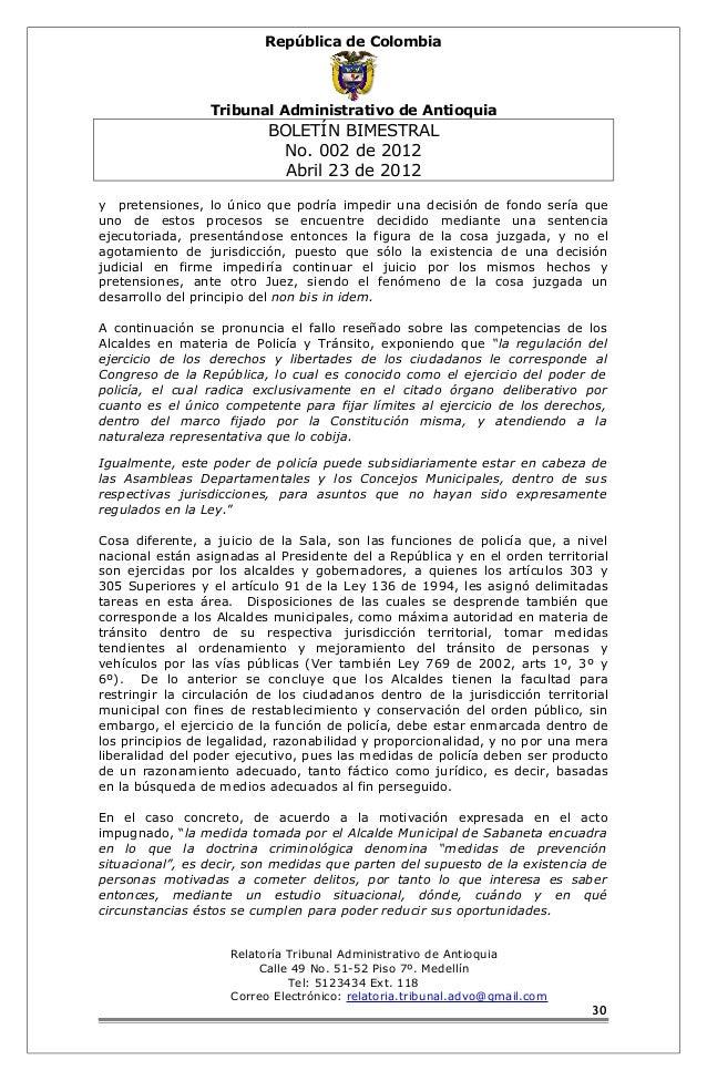 República de Colombia  Tribunal Administrativo de Antioquia  BOLETÍN BIMESTRAL  No. 002 de 2012  Abril 23 de 2012  y prete...