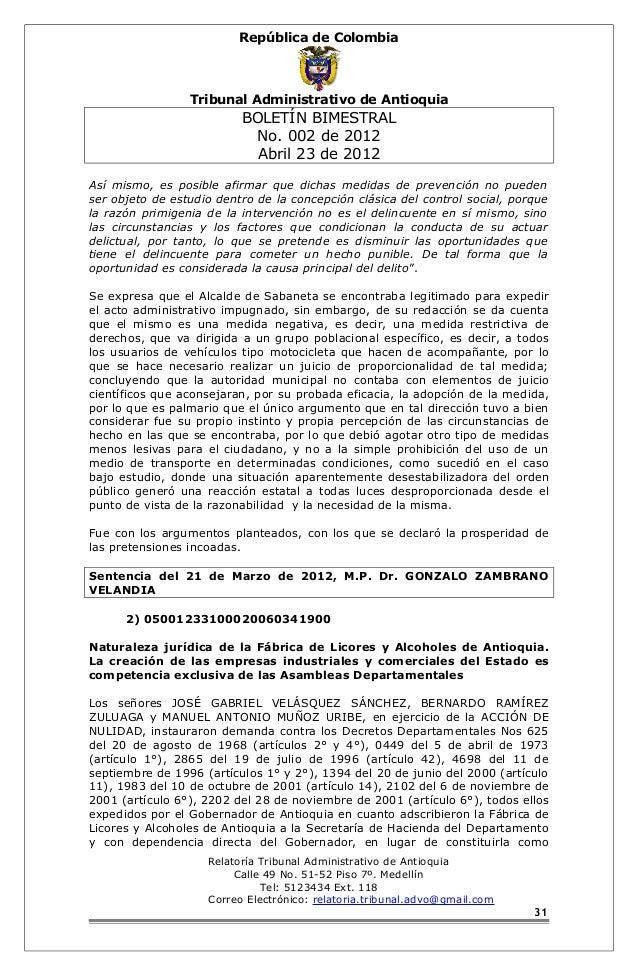 República de Colombia  Tribunal Administrativo de Antioquia  BOLETÍN BIMESTRAL  No. 002 de 2012  Abril 23 de 2012  Así mis...