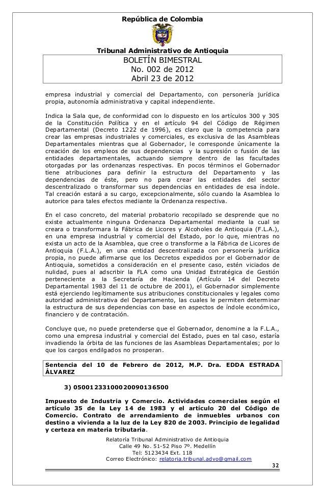República de Colombia  Tribunal Administrativo de Antioquia  BOLETÍN BIMESTRAL  No. 002 de 2012  Abril 23 de 2012  empresa...