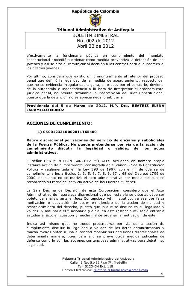 República de Colombia  Tribunal Administrativo de Antioquia  BOLETÍN BIMESTRAL  No. 002 de 2012  Abril 23 de 2012  efectiv...